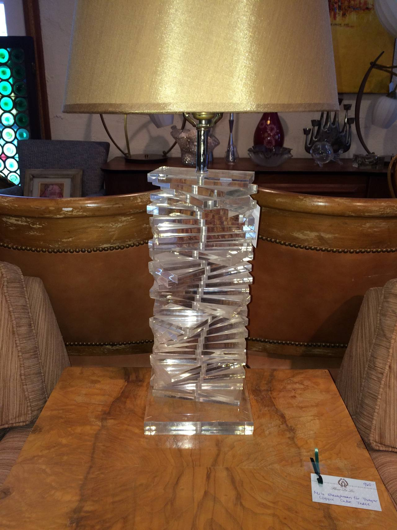 Late 20th Century Hollywood Regency Sculptural Helix Lucite Lamp For Sale