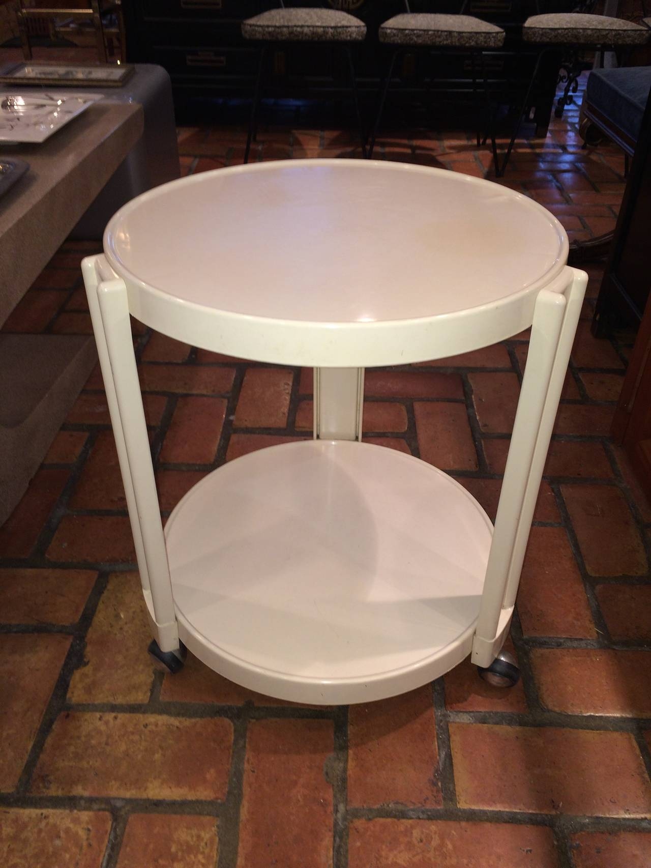 Perfect Giotto Stoppino For Kartell Round Bar Cart/ Table On Wheels. Creme Acrylic.  A