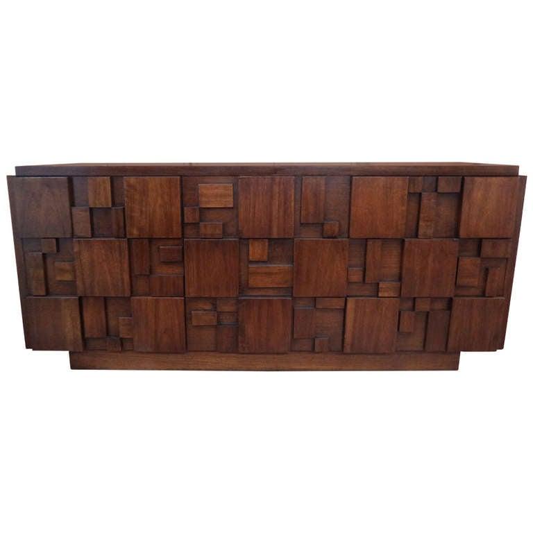pretty inspiration modern credenza. Mid Century Modern Paul Evans Inspired Brutalist Mosaic Credenza by Lane  For Sale