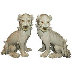 Pair of Exceptional 19th Century Porcelain Foo Dogs