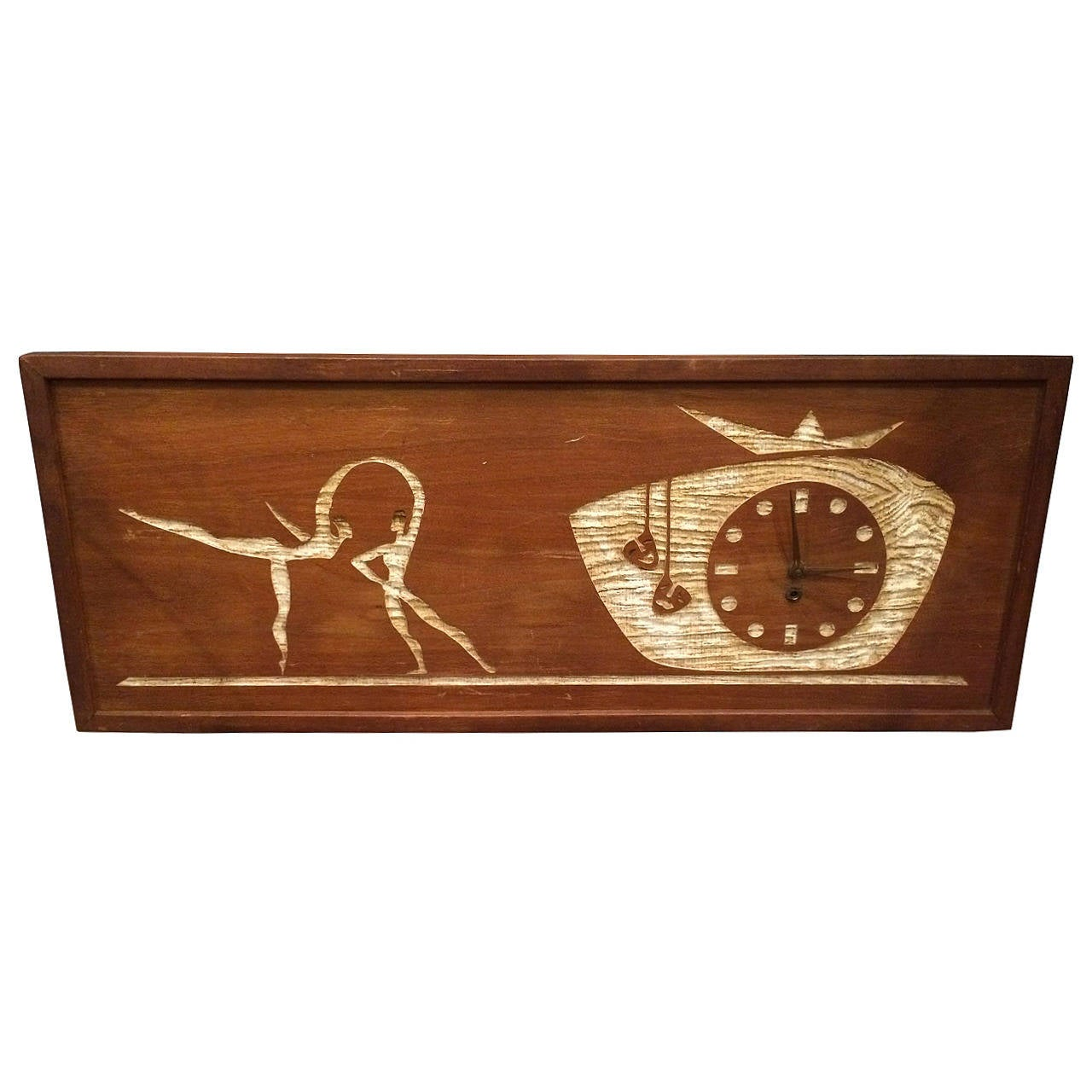 Mid-Century Modern Carved Cork Wall Clock Art