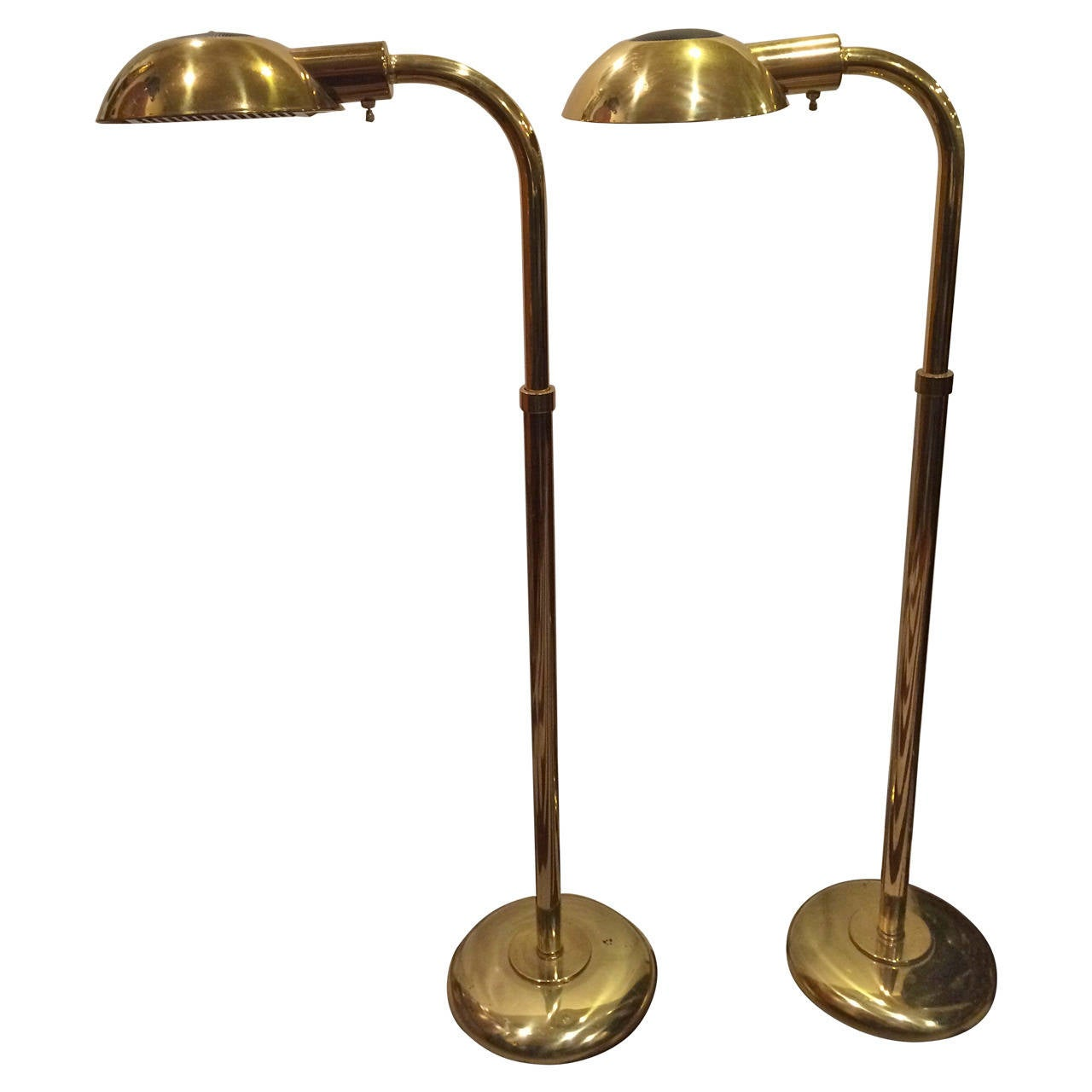 pair of mid century modern brass floor lamps for sale at. Black Bedroom Furniture Sets. Home Design Ideas