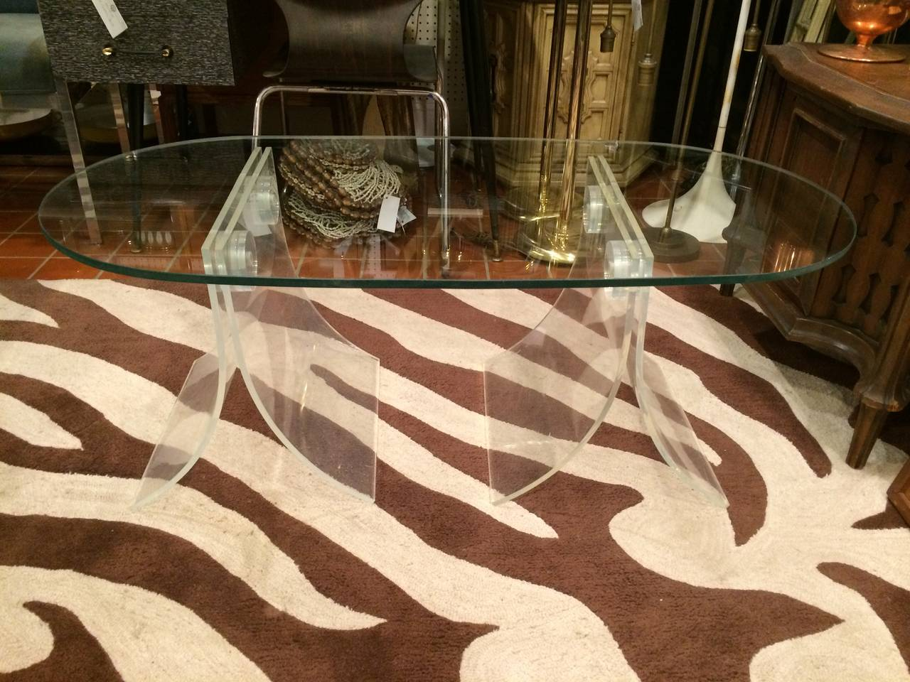 Lucite and Glass Coffee Table For Sale 2