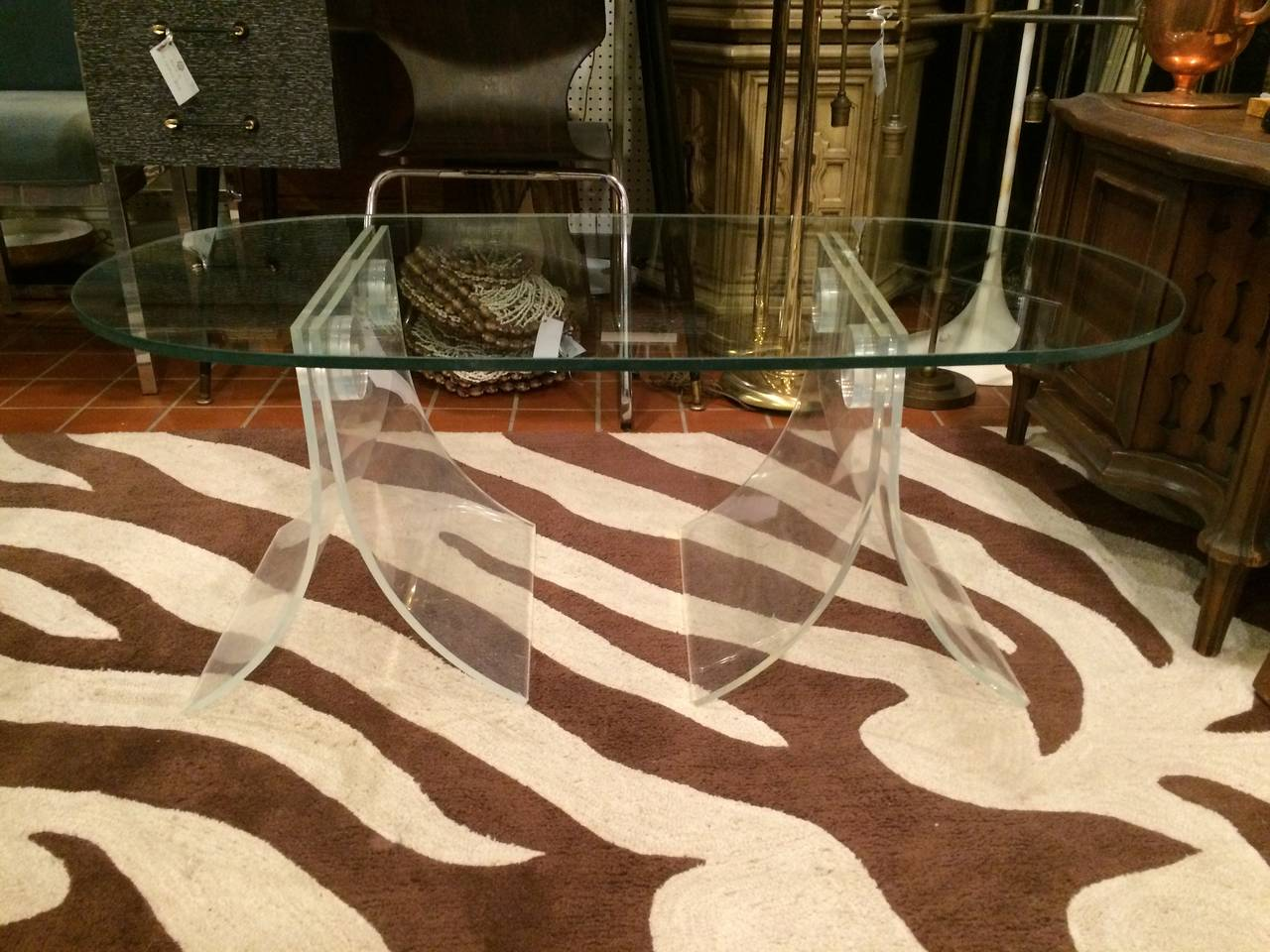 Lucite and Glass Coffee Table For Sale 4