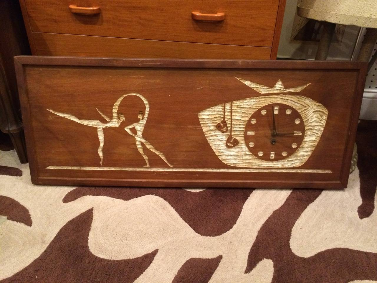 Mid Century Modern Carved Cork Wall Clock Art At 1stdibs