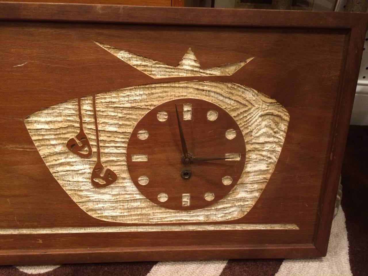 Mid Century Modern Carved Cork Wall Clock Art For Sale At