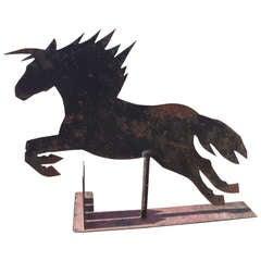 Large Iron Sheet Horse Sculpture