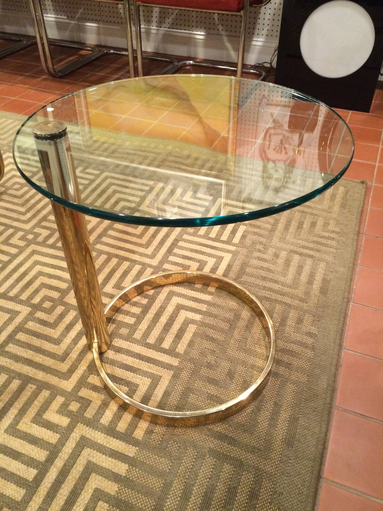 Pace Round Brass And Glass Side Table At Stdibs - Round brass glass side table