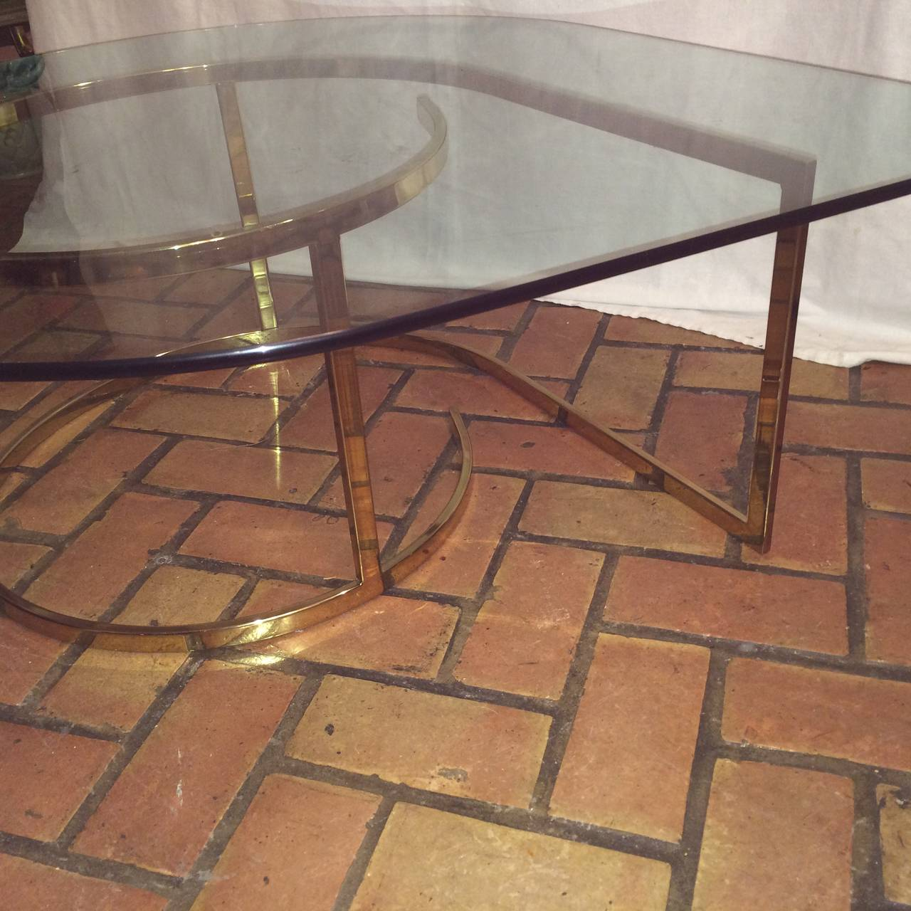 Hollywood Regency Brass and Glass Coffee Table For Sale 5