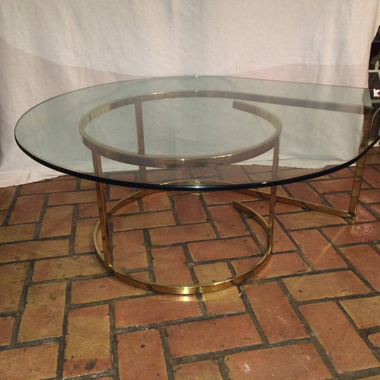 Hollywood Regency Brass and Glass Coffee Table For Sale 4