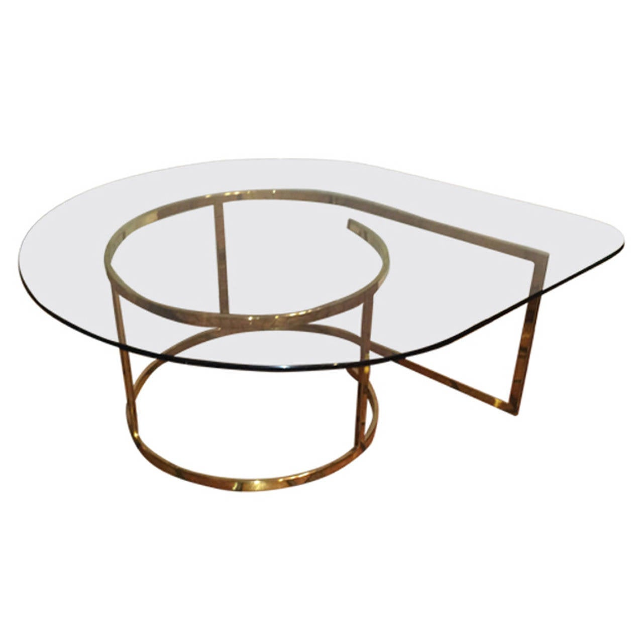 Hollywood Regency Brass and Glass Coffee Table For Sale