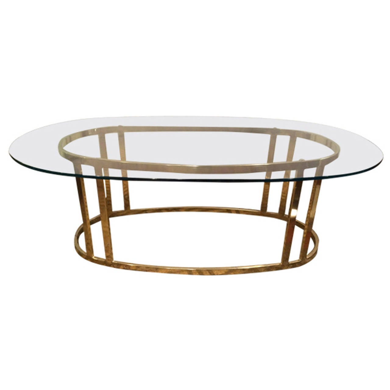 Hollywood Regency Brass And Glass Coffee Table At 1stdibs
