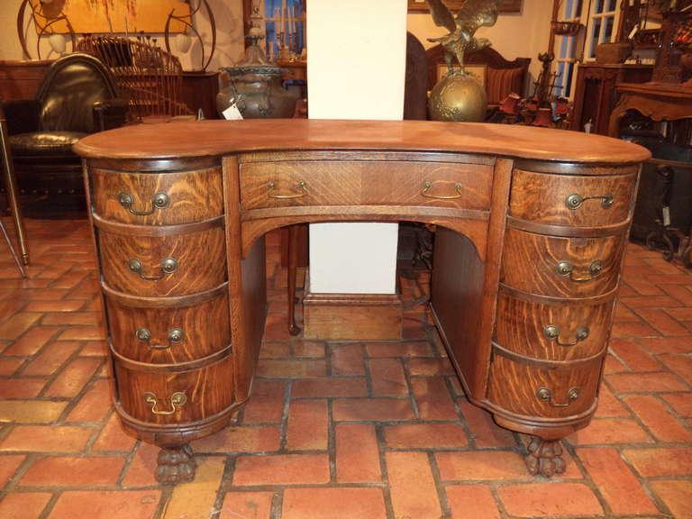 Arts And Crafts Antique Oak Kidney Shaped Desk For