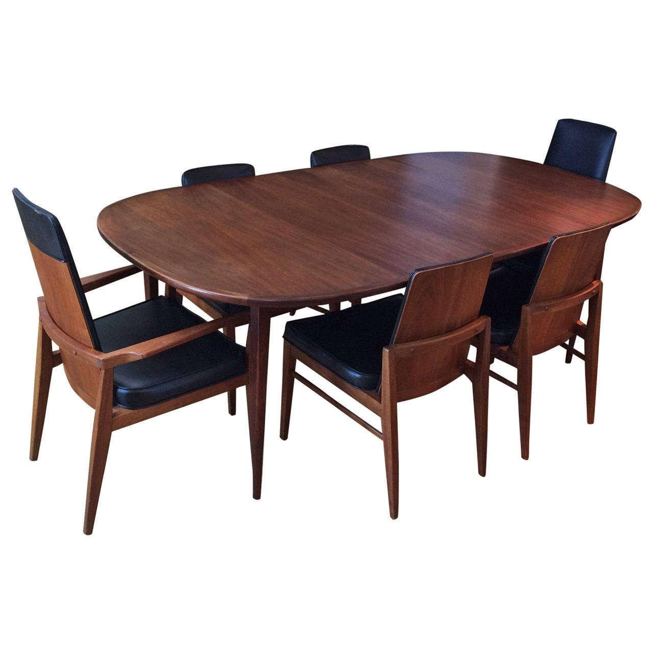 Mid century modern walnut dining set at 1stdibs for Dining room tables 1940s
