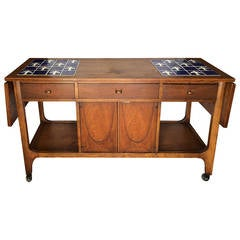 Broyhill Brasilia Walnut and Tile Server or Bar Cart