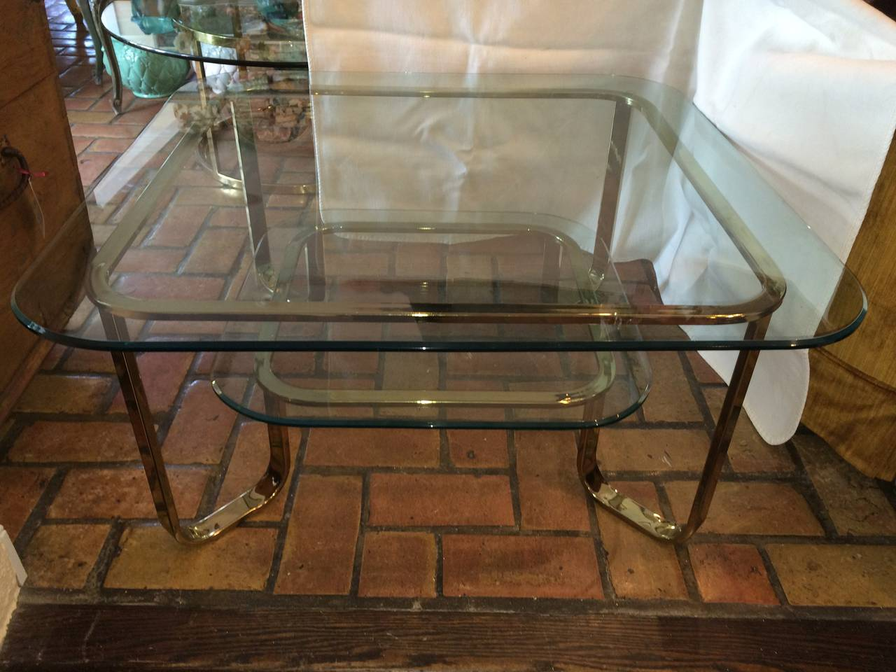 Hollywood Regency Brass and Glass Coffee Table 2