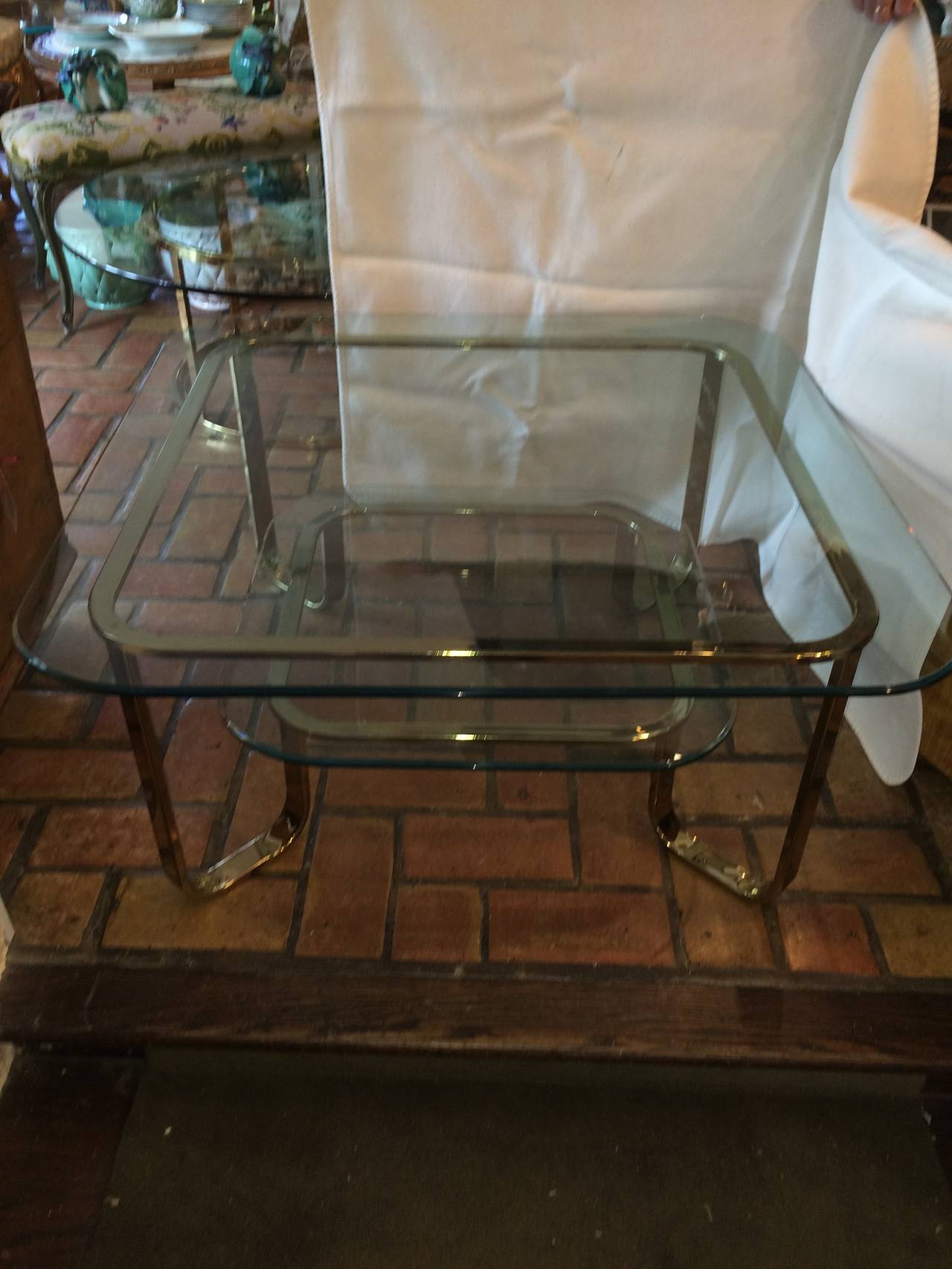 Hollywood Regency Brass and Glass Coffee Table 3