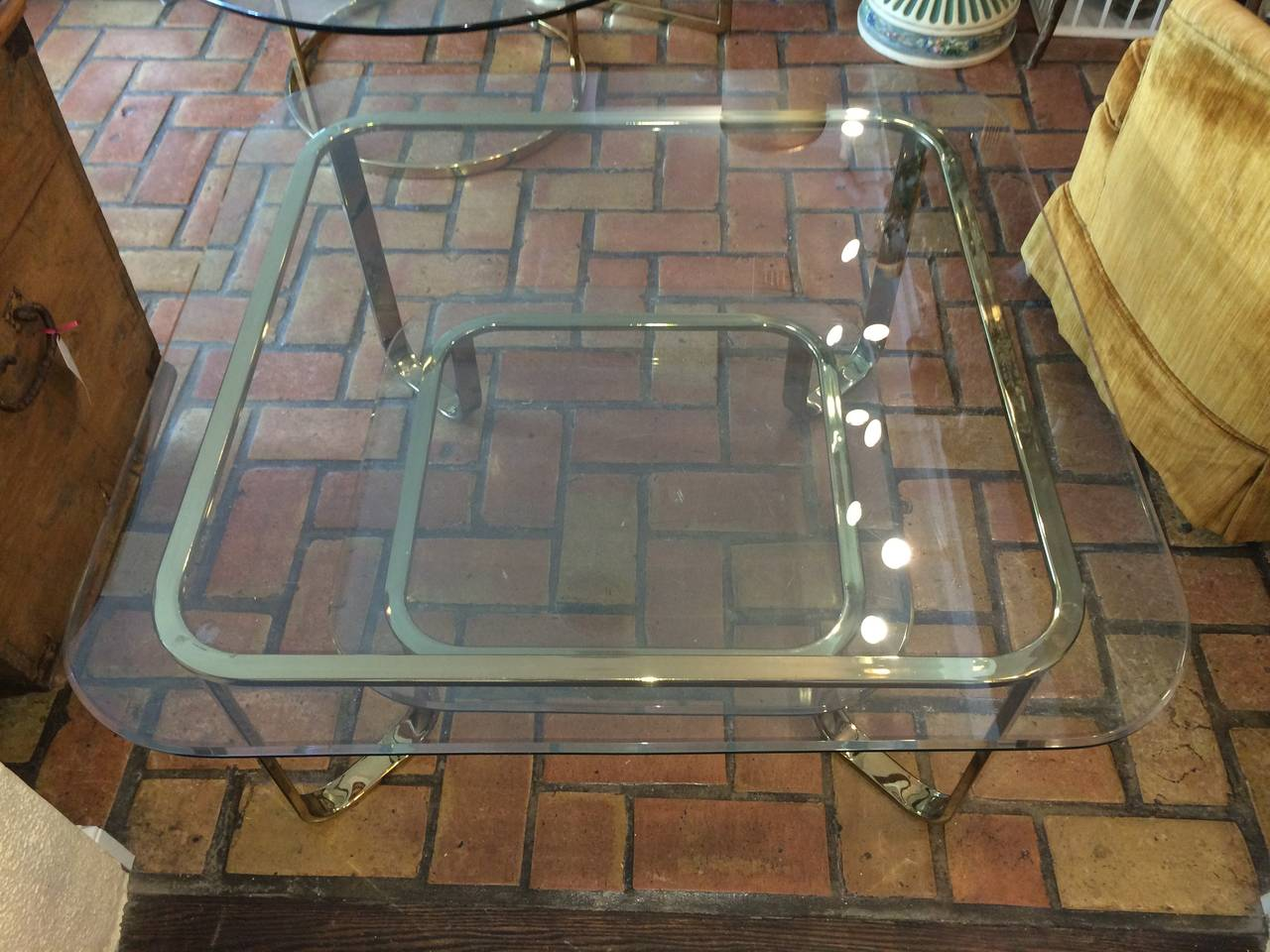 Hollywood Regency Brass and Glass Coffee Table 4