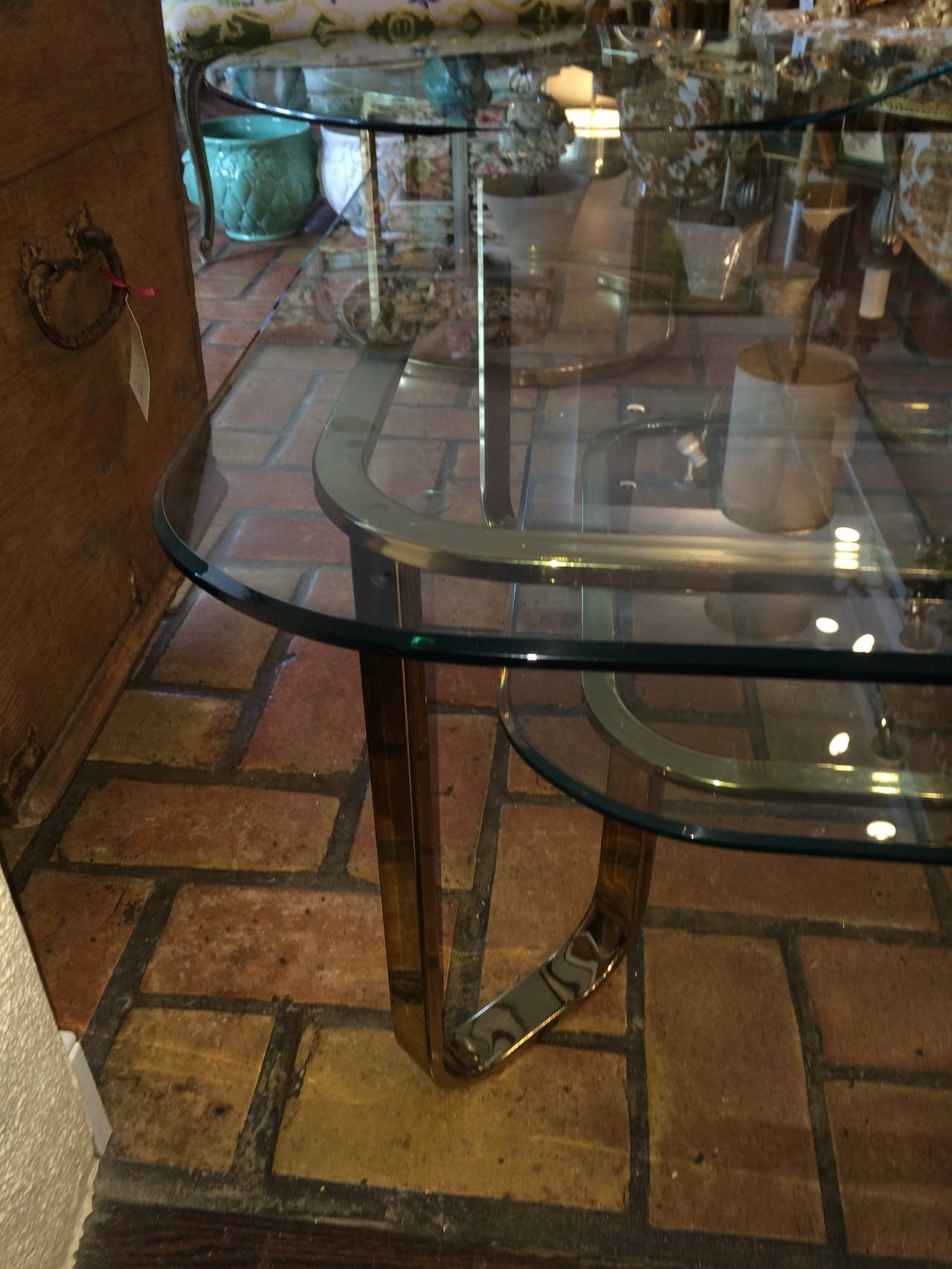 Hollywood Regency Brass and Glass Coffee Table 6