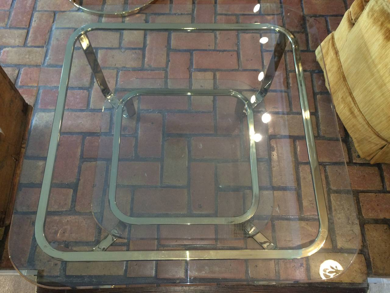 Hollywood Regency Brass and Glass Coffee Table 5