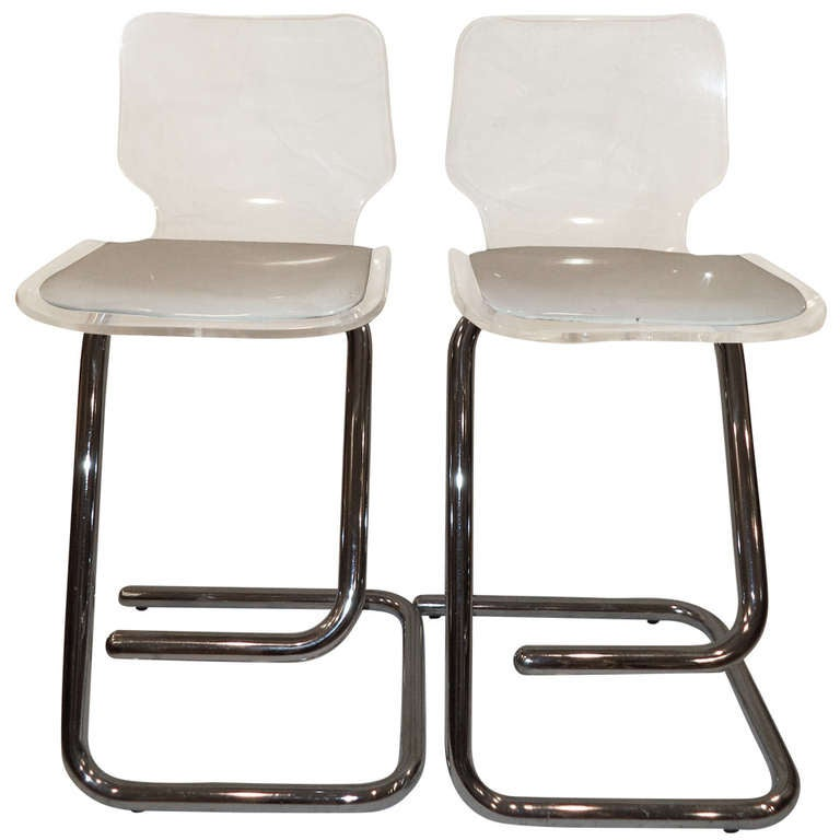 Pair Of Lucite And Chrome Stools For Sale At 1stdibs