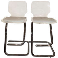 Pair of Lucite and Chrome Stools