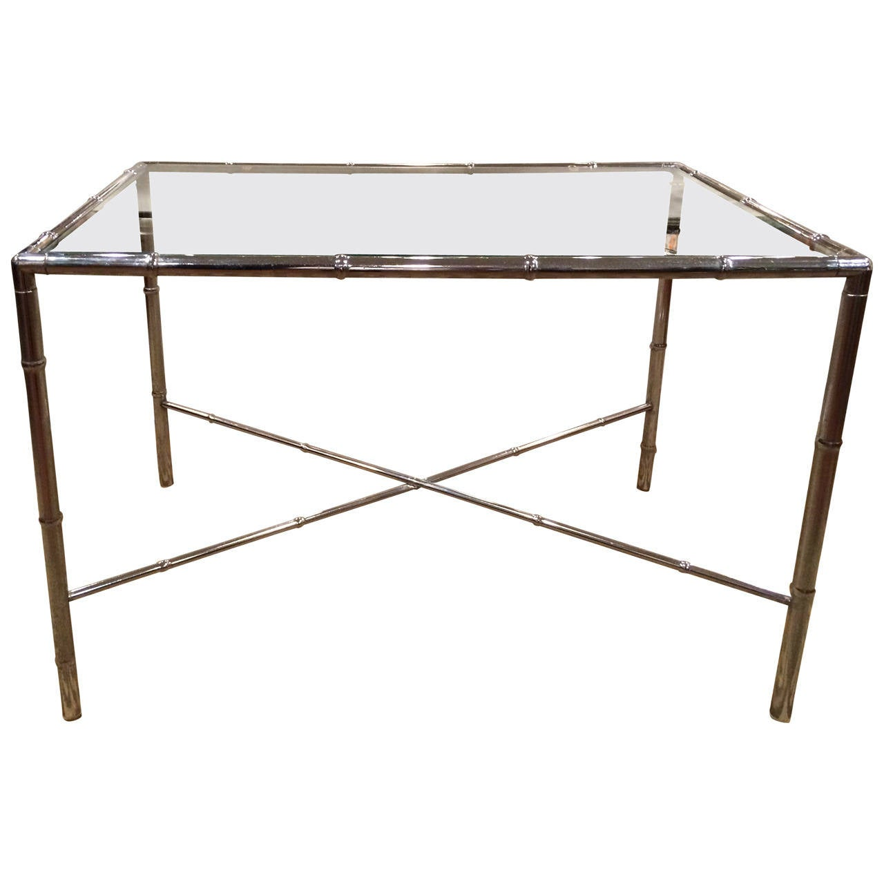 Milo Baughman Style Faux Bamboo Chrome and Glass Table For Sale