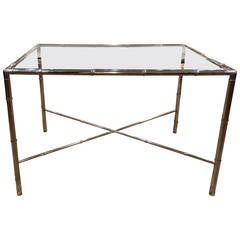 Milo Baughman Style Faux Bamboo Chrome and Glass Table