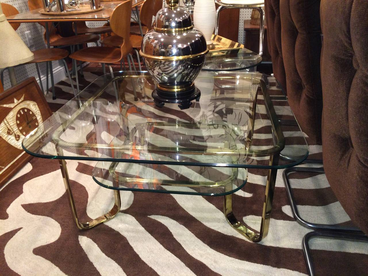 Hollywood Regency Brass and Glass Coffee Table 8