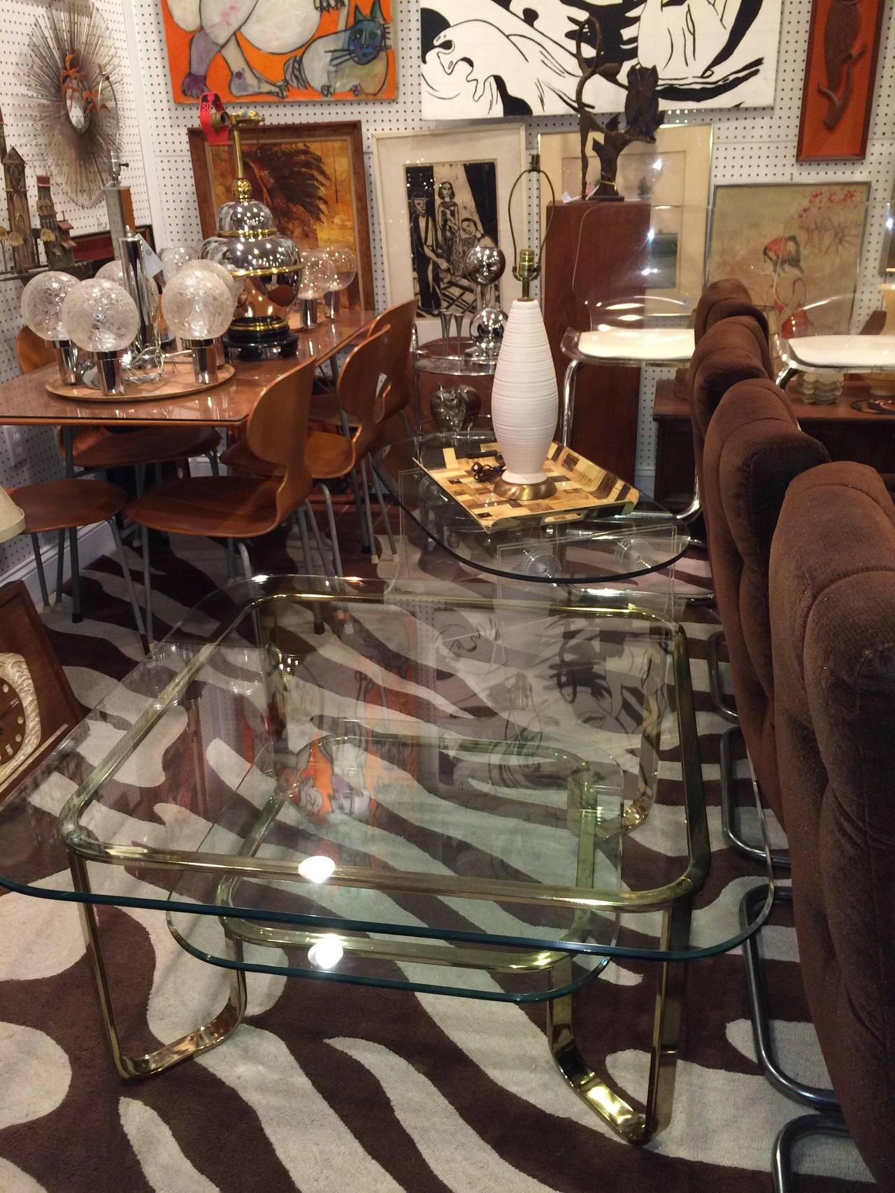 Hollywood Regency Brass and Glass Coffee Table 9