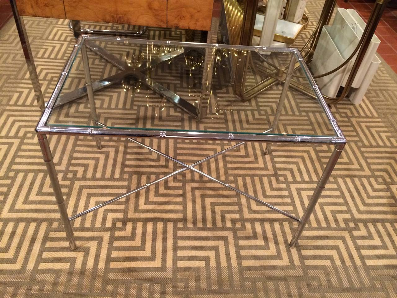 Milo Baughman Style Faux Bamboo Chrome and Glass Table In Good Condition For Sale In Redding, CT