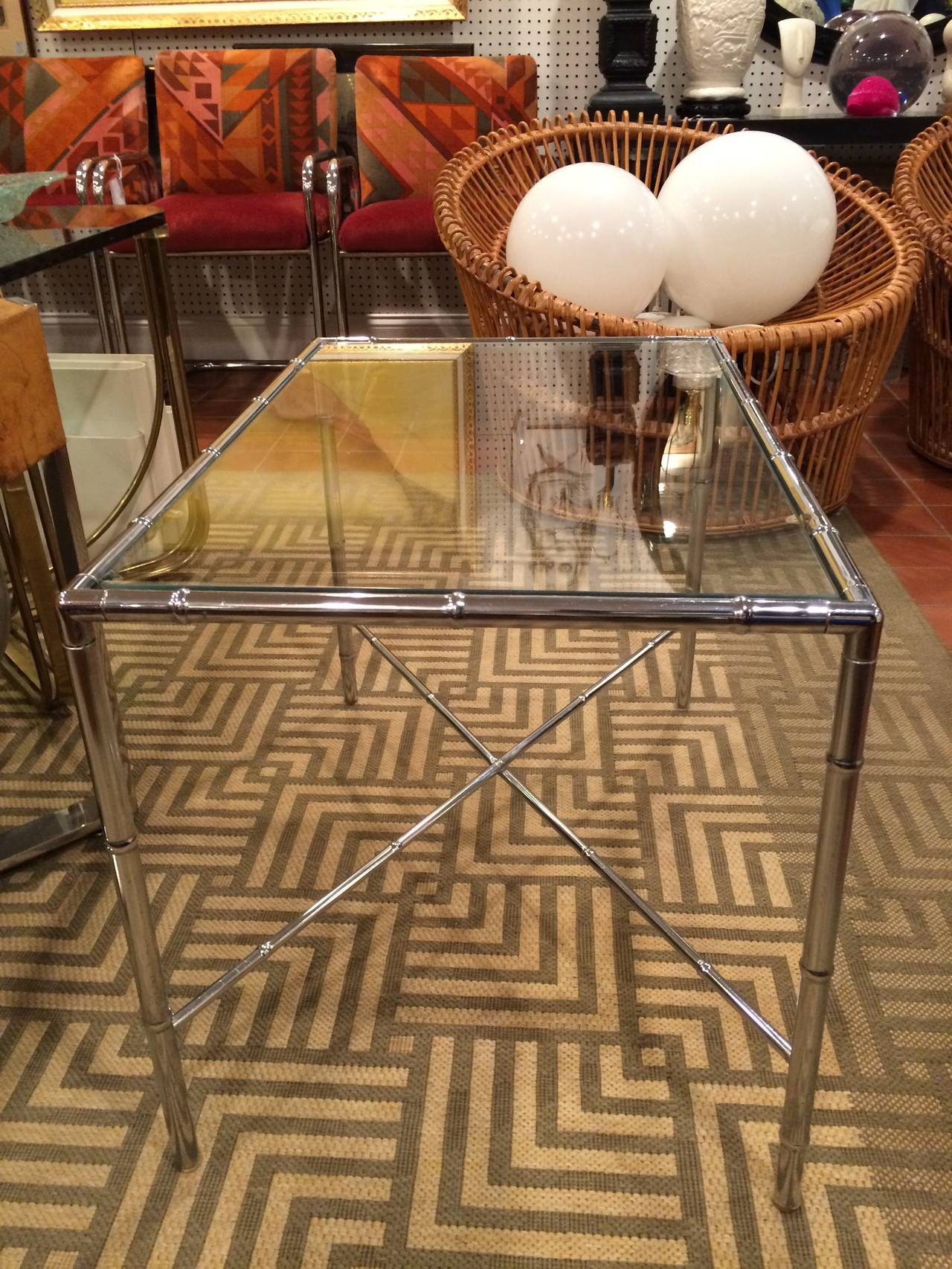 Late 20th Century Milo Baughman Style Faux Bamboo Chrome and Glass Table For Sale