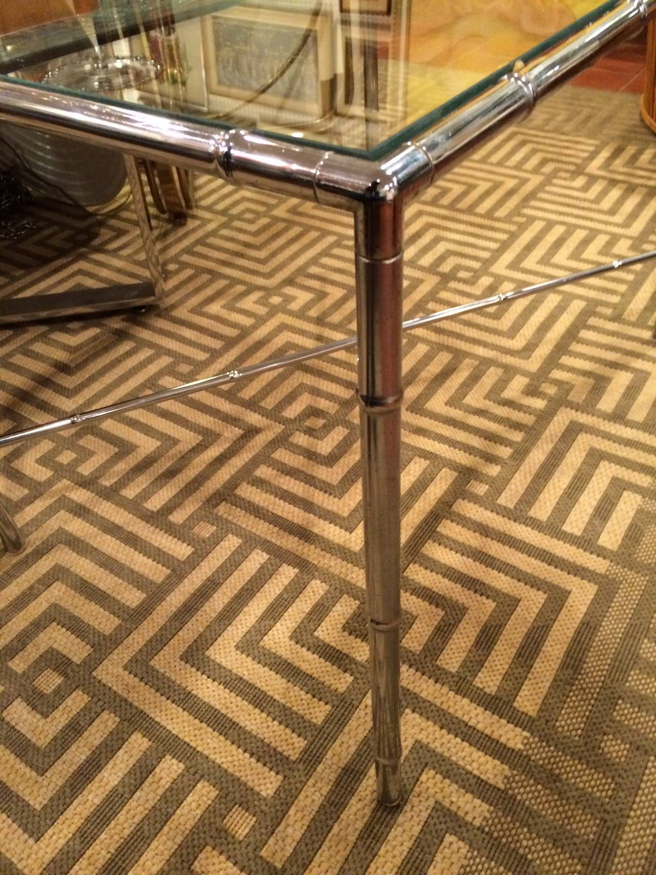 Milo Baughman Style Faux Bamboo Chrome and Glass Table For Sale 2