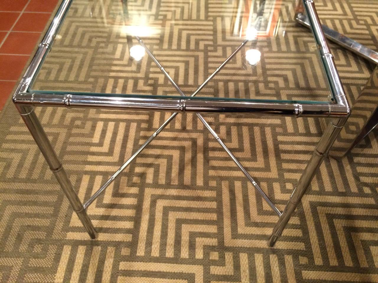Milo Baughman Style Faux Bamboo Chrome and Glass Table For Sale 3