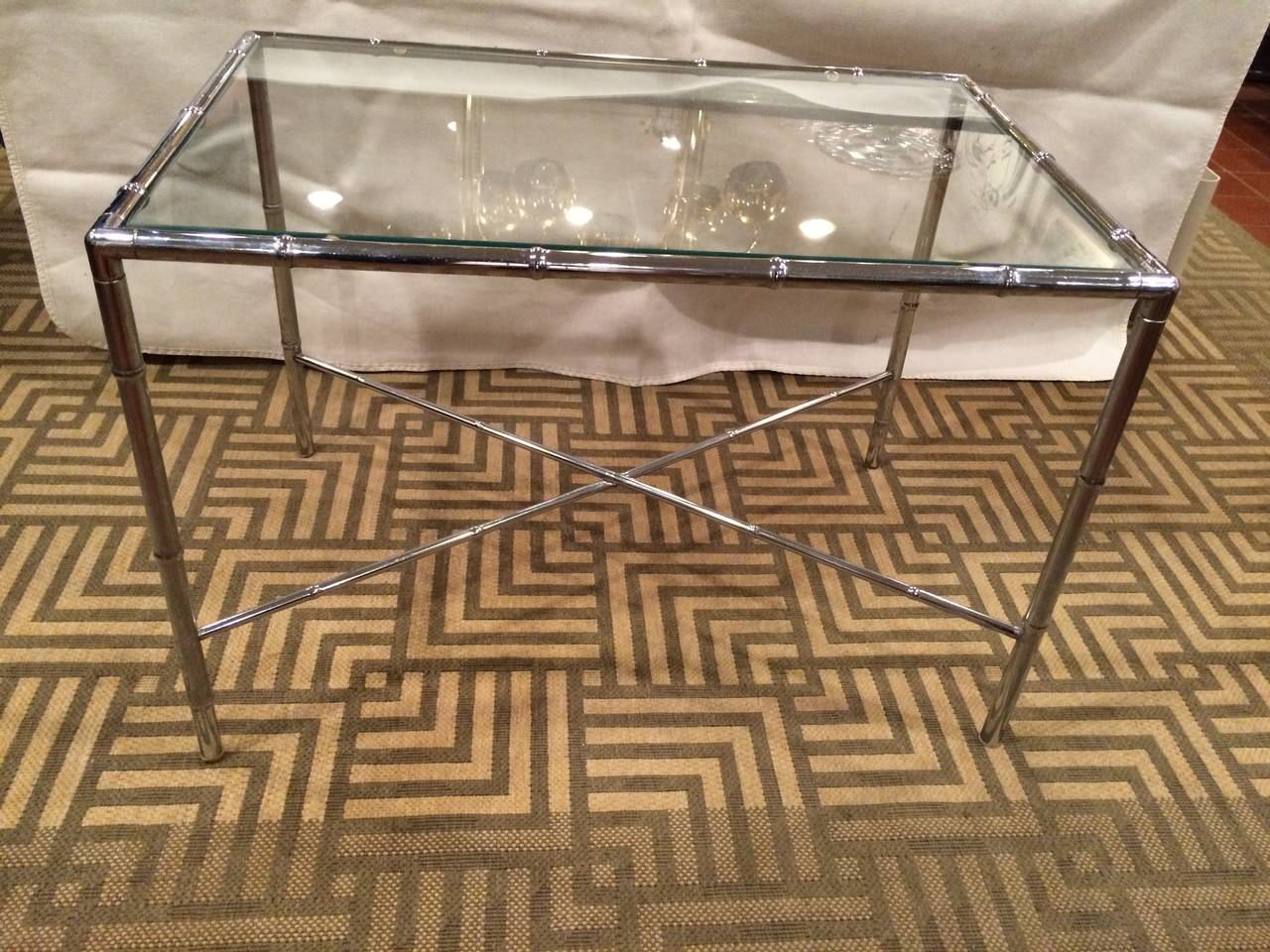 American Milo Baughman Style Faux Bamboo Chrome and Glass Table For Sale