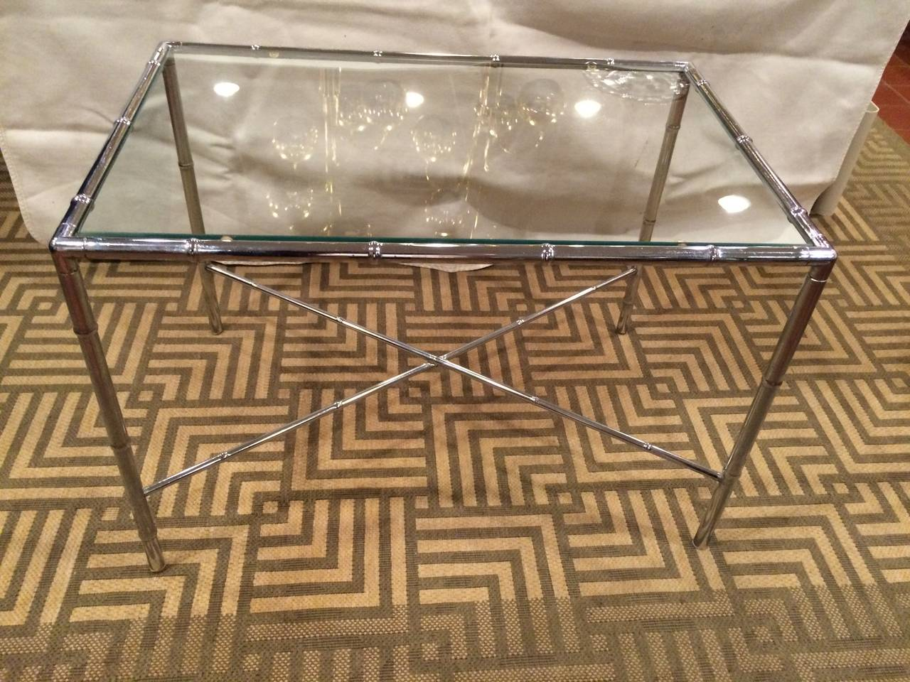 Hollywood Regency Milo Baughman Style Faux Bamboo Chrome and Glass Table For Sale