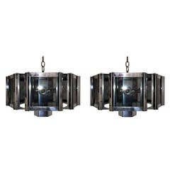 Pair of Hexagonal Chrome Chandeliers by Robert Sonneman