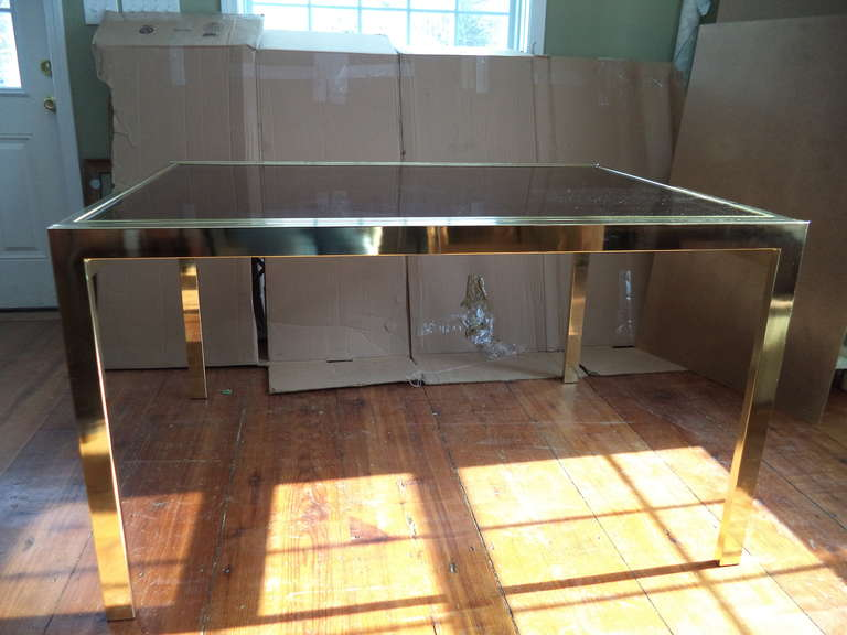 Brass Extension Dining Table By DIA With Smoked Glass Top. Use Closed Or  Extend Open