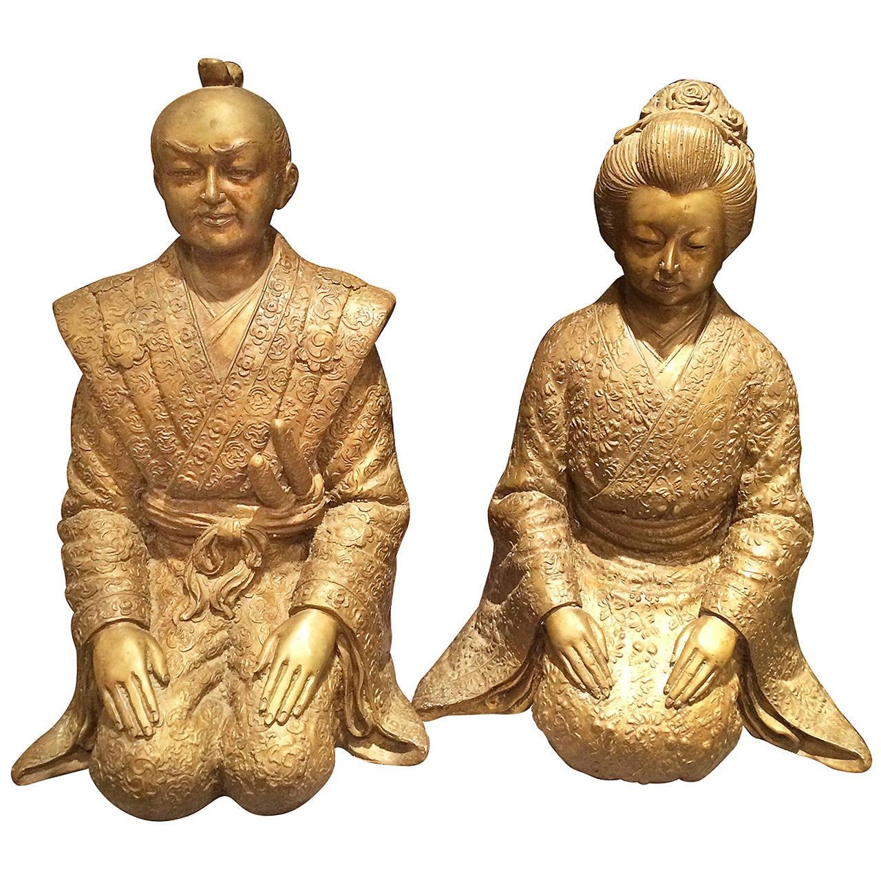 Pair of Bronze Asian Statues