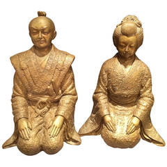 Pair of Bronze Asian Statues