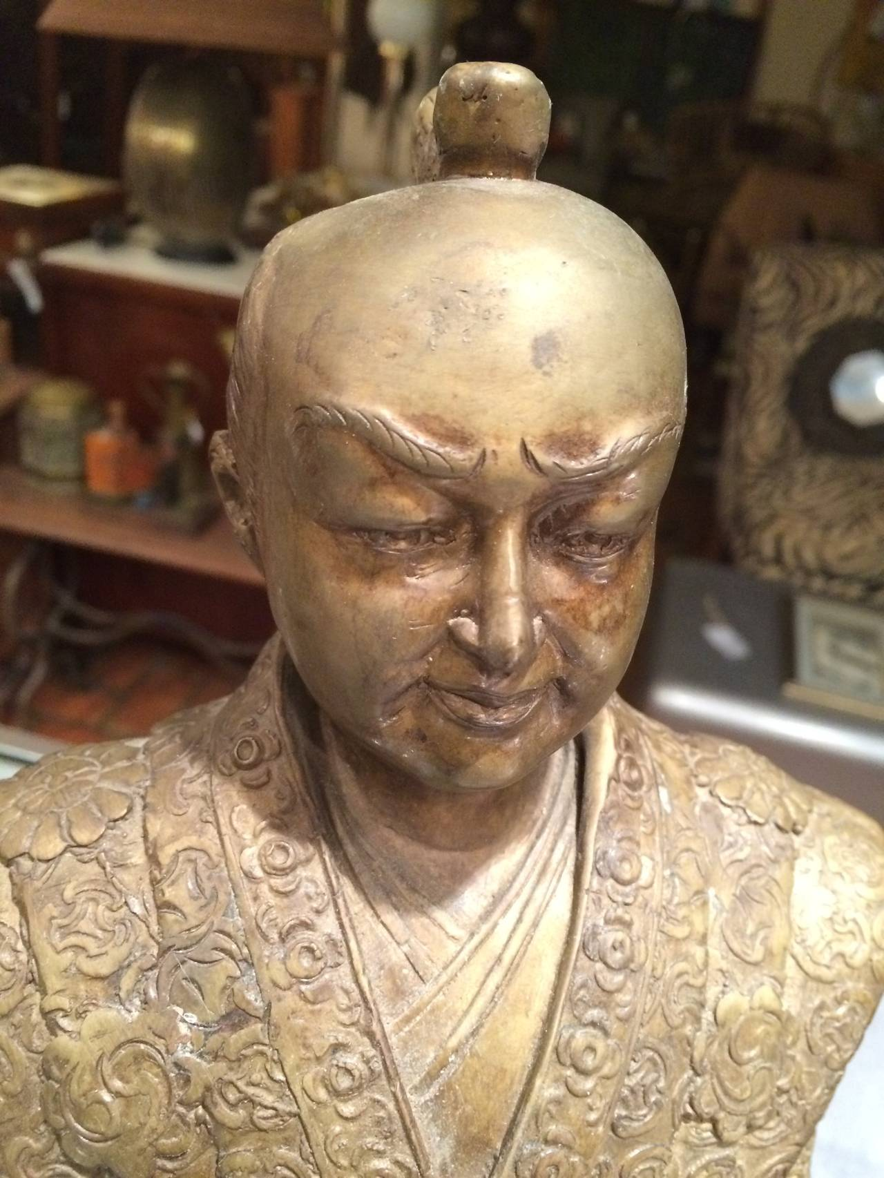 Pair Of Bronze Asian Statues At 1stdibs