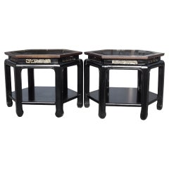 Pair of Asian Chinese Chippendale Tables in the Style of James Mont