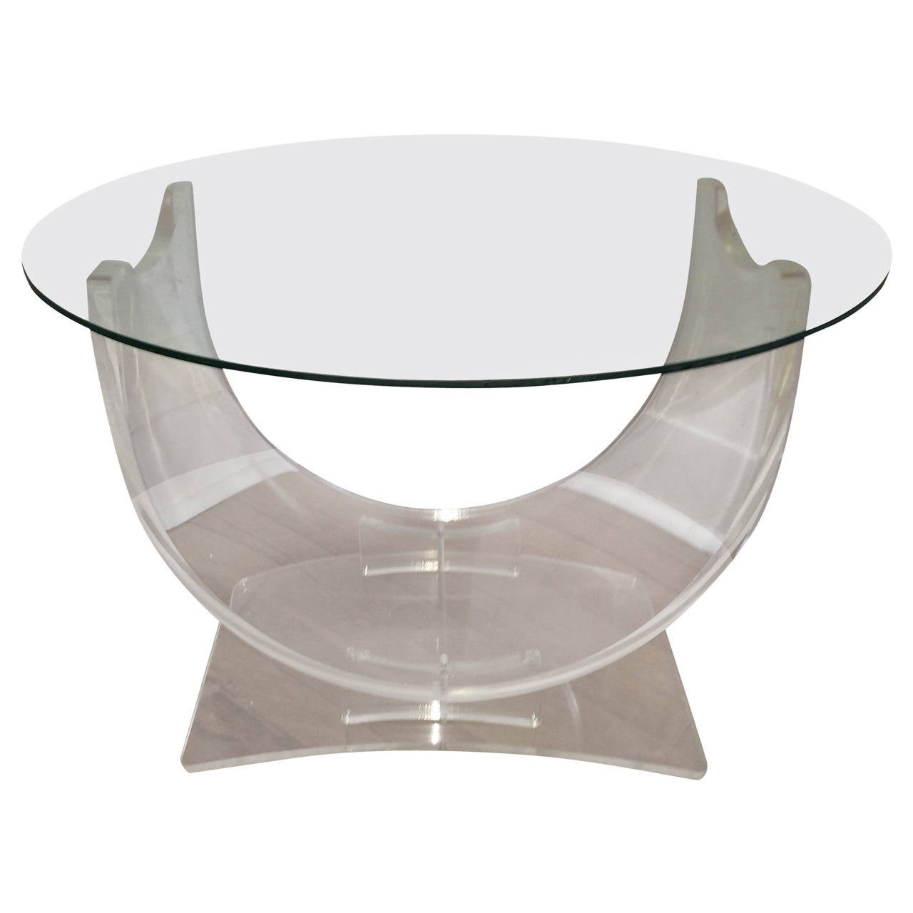Hollywood Regency Lucite and Glass Table
