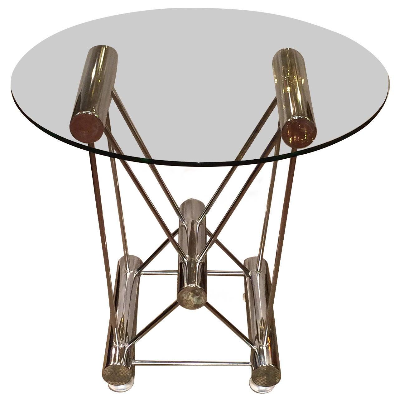 Sculptural Tubular Chrome and Glass Table