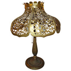 Antique Gilt Metal Lamp with Pierced Shade by Edward Miller