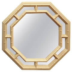 Faux Bamboo Hollywood Regency Octagonal Mirror