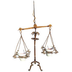 Italian Gilt Iron Scales of Justice Planter