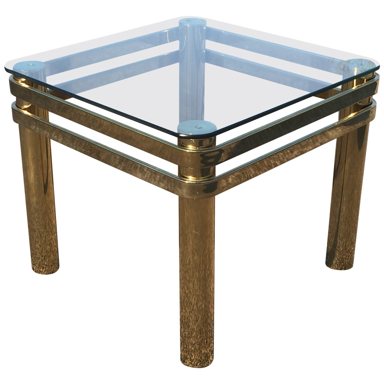 Hollywood Regency Brass and Glass Table by Pace