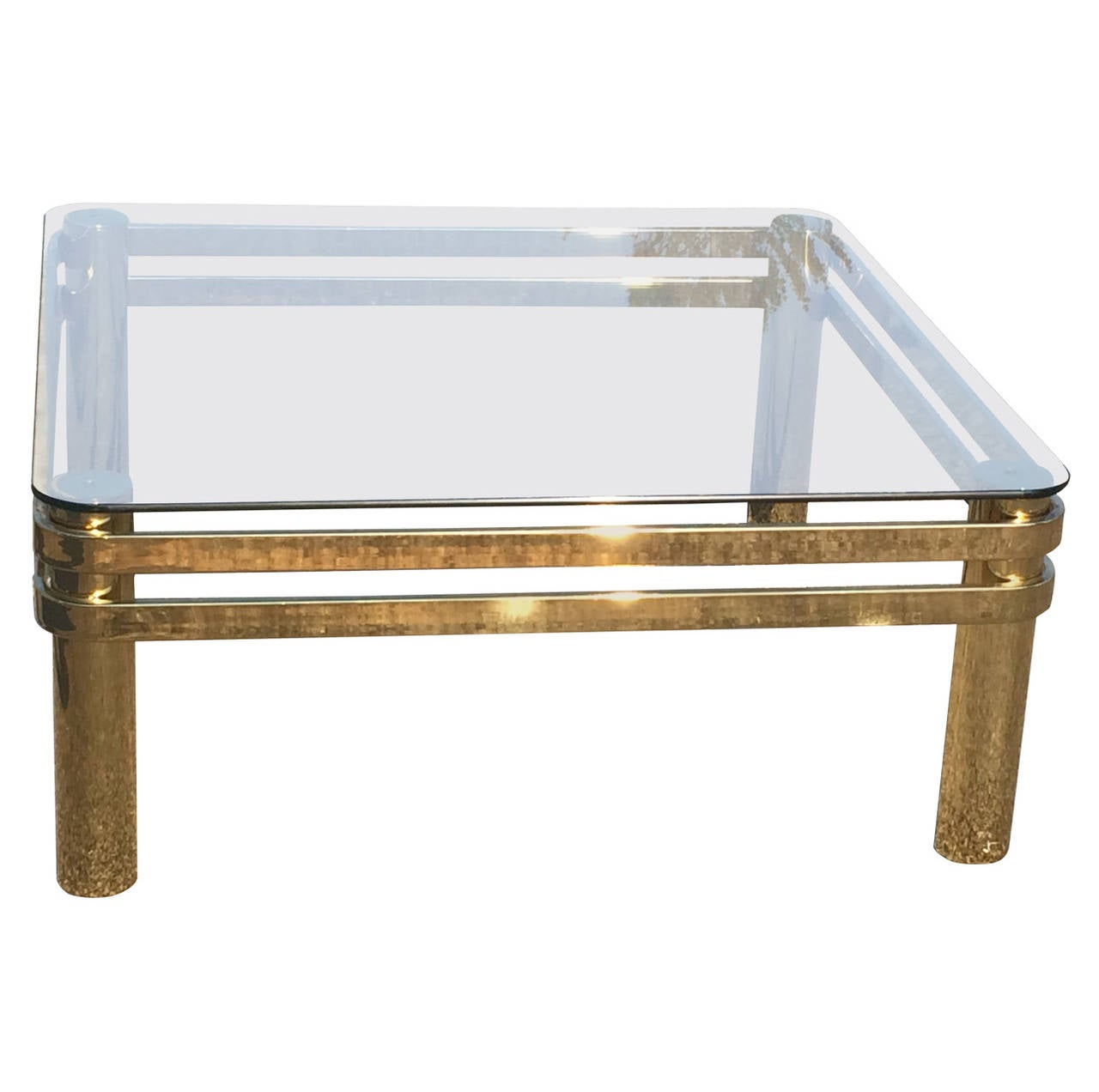 hollywood regency brass and glass coffee table attributed to pace