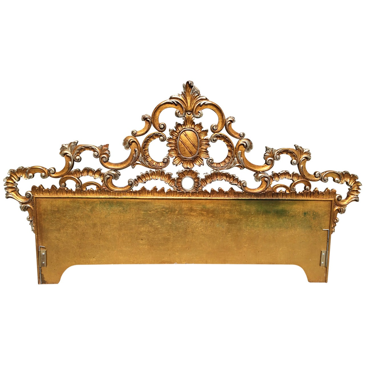 Hollywood Regency Carved Gilt King Headboard